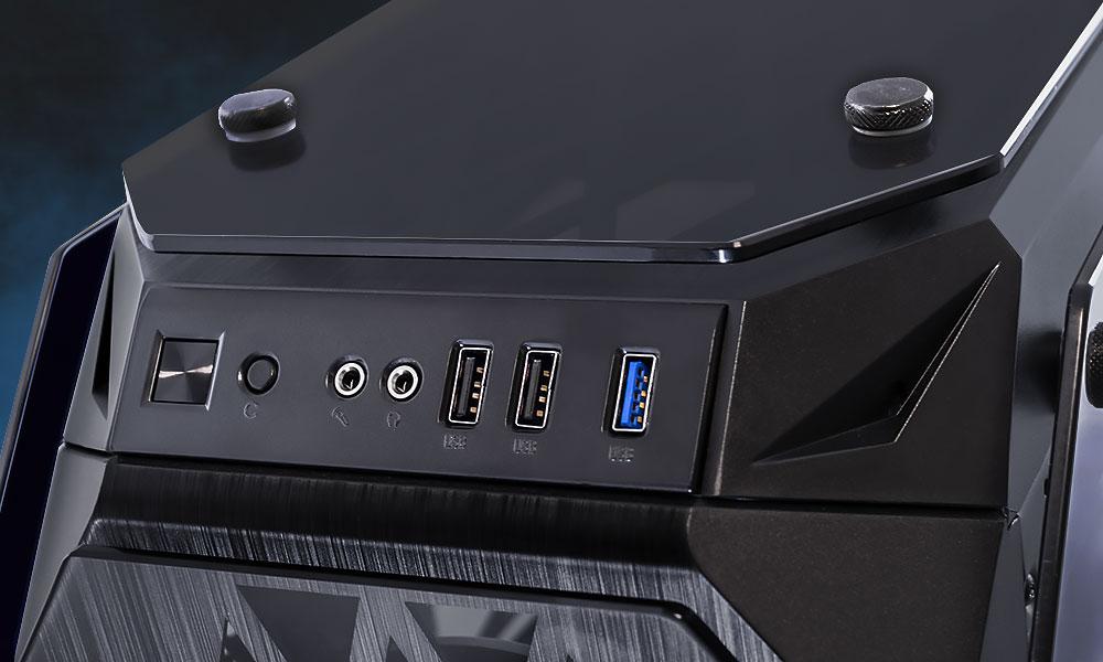Conexiones superiores de la caja gaming Kraken