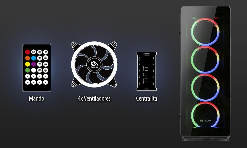 Ventiladores, mando, centralita y frontal de la caja Leviathan